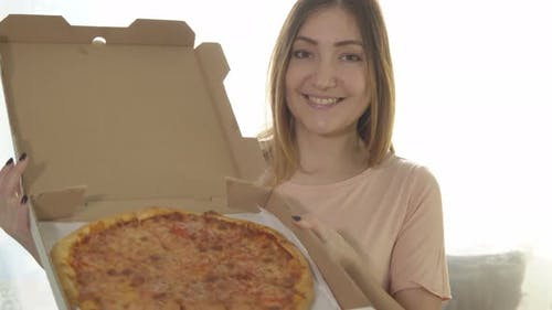 Young Woman Eating Appetizing Pizza, Calorie Food