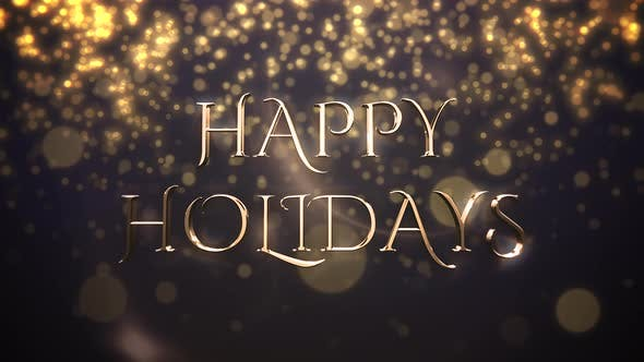 Thumbnail for Gold abstract bokeh particles falling and animated closeup Happy Holidays text on shiny background