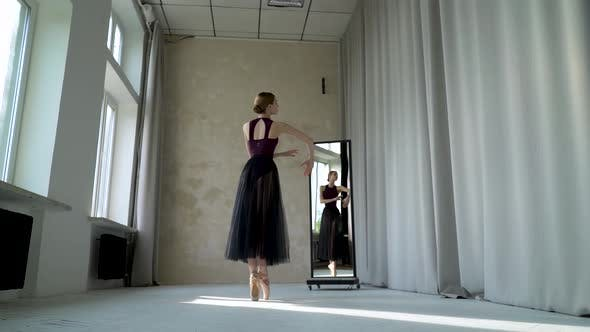 Young Female Dancer in Does Ballet Exercises on the Tiptoes in Beige Pointe Shoes, Rehearsal