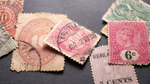 Close up of Old  Stamps