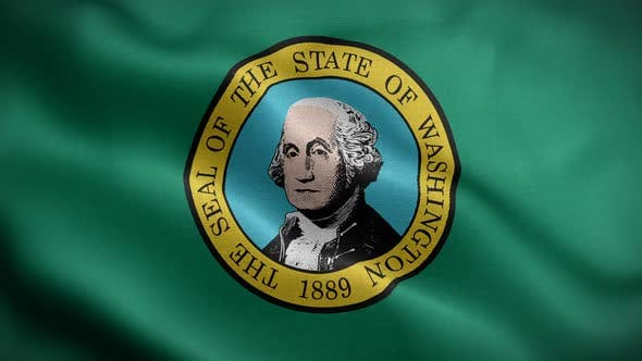 Washington State Flag Blowing In Wind