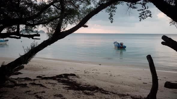 Thumbnail for Motor Boat Floating on the Ocean Near Shore