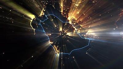 Realistic Earth Night Shining Country Saudi Arabia