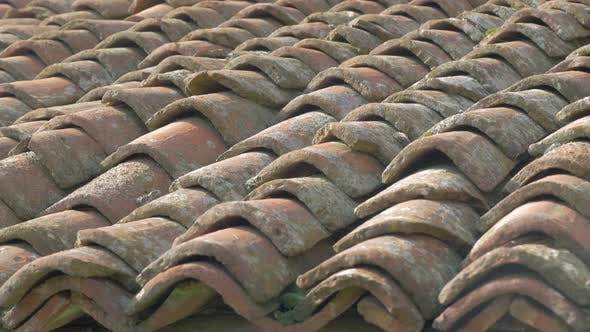 Thumbnail for Ancient roofing material made of clay 4K 2160p UHD panning  footage - Roof top tiles old material 4K