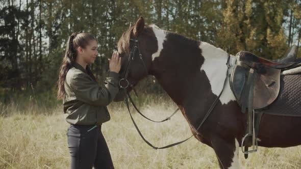 Young Beautiful Female Rider Strokes Gives Rest Eat Fresh Grass To Her Favorite Mare After Difficult
