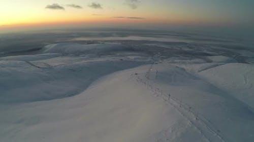 Sunrise or Sunset over Khibiny Mountains, Aerial Shot