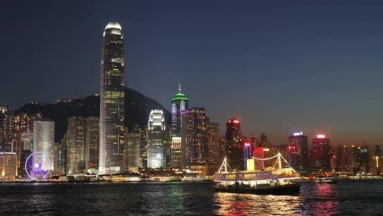 Beautiful Night Scape in Hong Kong