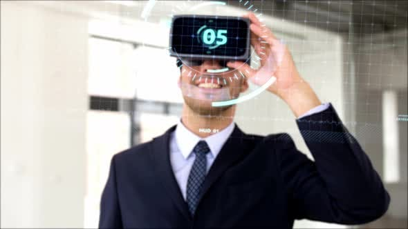 Thumbnail for Businessman with Vr Headset, Score and Coding