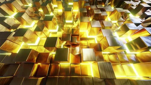 Flying On Gold Cube 01 4K