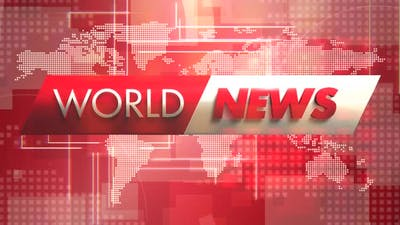 Text World News and news intro graphic with grid and world map in studio