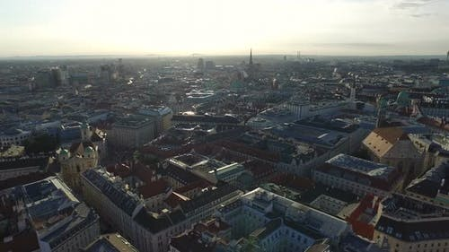 Aerial of Vienna in the evening