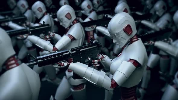 Modern Cyber Robots Army With Artificial Intelligence 4k