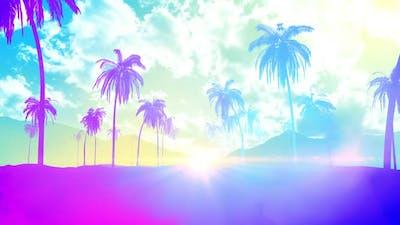 Summer Palm Beach Background