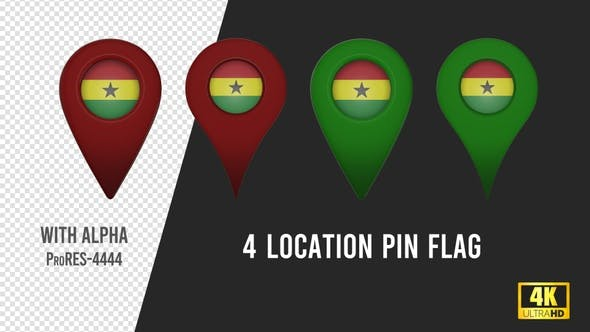 Ghana Flag Location Pins Red And Green
