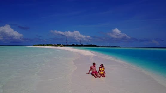 Romantic lady and man married on vacation have fun on beach on paradise white sand background 4K