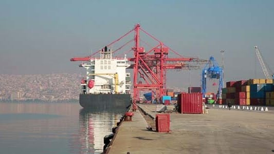 Thumbnail for Freight Ship Moored In The Docks Of Izmir Harbour