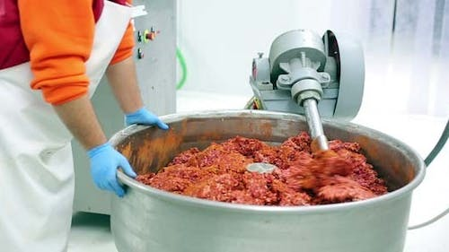 Mixing Mince Meat With Spices