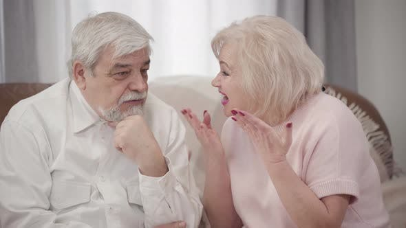 Thumbnail for Emotional Mature Caucasian Woman Scolding Elderly Husband at Home, Displeased Couple of