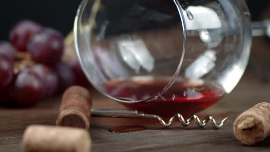 Thumbnail for A Glass of Red Wine Is on the Table. Macro Background. High Quality  Footage