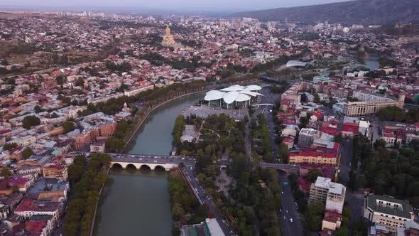 Evening City Aerial