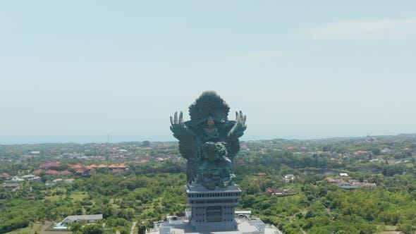 Giant Copper Statue of Garuda Wisnu Kencana in Cultural Park in Bali Indonesia