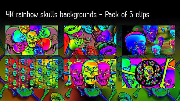 Thumbnail for Rainbow Skulls Background - Pack Of 6 Videos