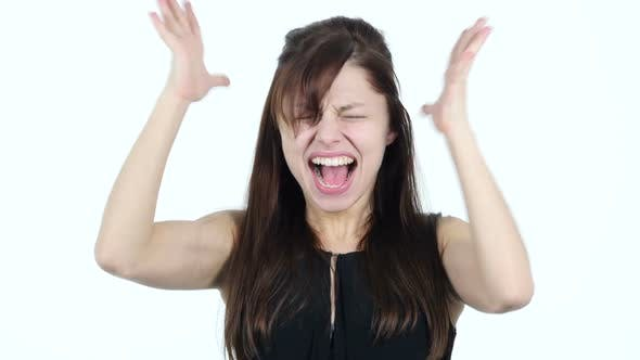 Cover Image for Screaming Upset Young Girl, White Background