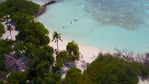 Beautiful coast beach holiday by blue sea and white sandy background near sandbar