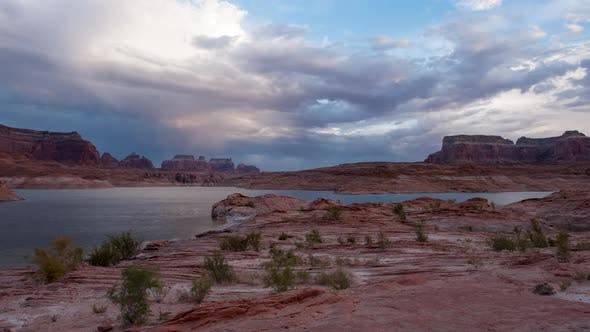 Thumbnail for Timelapse over Lake Powell at Sunset