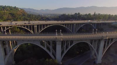 Aerial Of A Freeway And Bridge