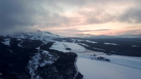 Thumbnail for Beautiful Winter Nature Aerial Footage Of Sunrise In The Mountains