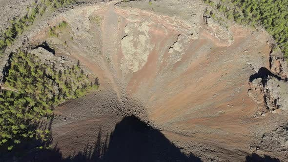 Volcanic Mountain Crater Formed by Lava Rocks