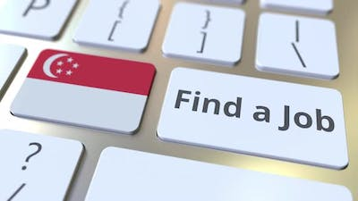 FIND A JOB Text and Flag of Singapore on the Keys