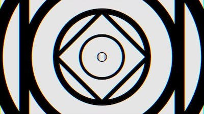 Kaleidoscope with animated monochrome lines and geometric shapes