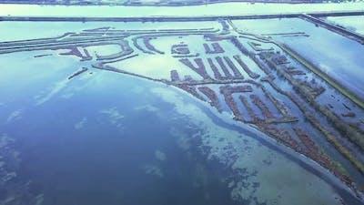 Antiflooding Dams Near Road in Venetian Lagoon at Twilight