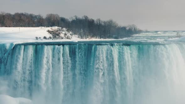 Thumbnail for View From the Canadian Coast To the Amazing Niagara Falls in the Winter Season