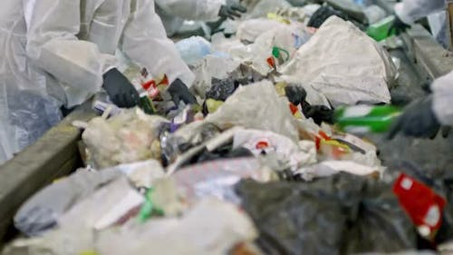 Workers Separating Plastic from Household Waste