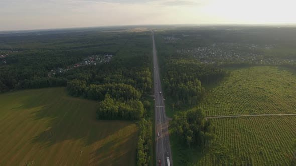 Thumbnail for Car Traffic on the Countryside Road in Russia, Aerial