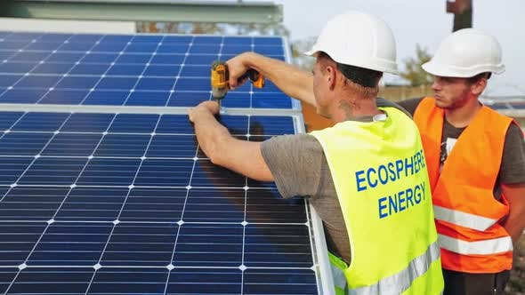Thumbnail for Workers Installing Photovoltaic Solar Panels