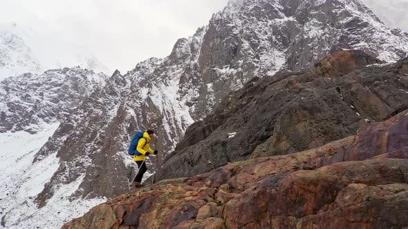 Thumbnail for Climbers Walking Up Mountain Expedition Aerial Flight Epic Mountain Range Climb To Success Beautiful