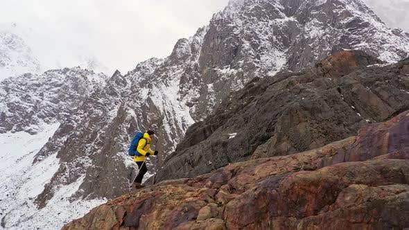 Climbers Walking Up Mountain Expedition Aerial Flight Epic Mountain Range Climb To Success Beautiful