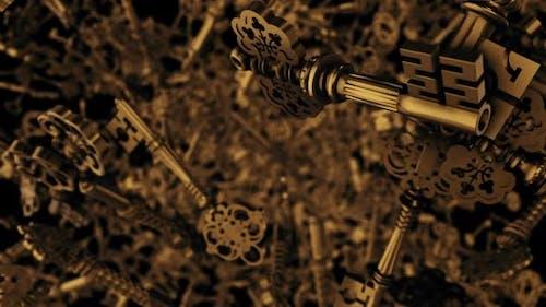 Goldene Schlösser oder Goldene Schlüssel, die in der Luft schweben
