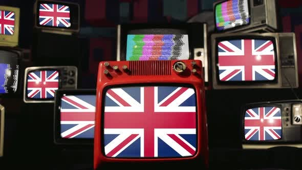 United Kingdom Flags and Vintage Televisions.