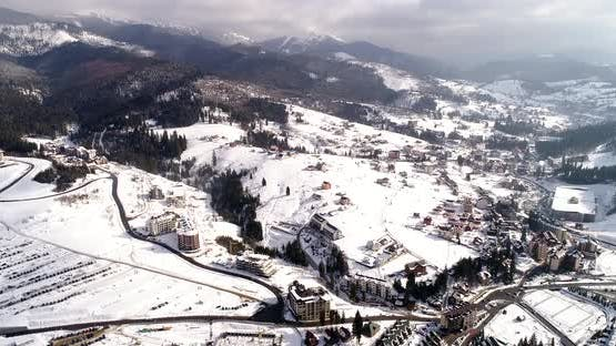 Aerial View of the Ski Resort Sport Village in Mountains at Winter