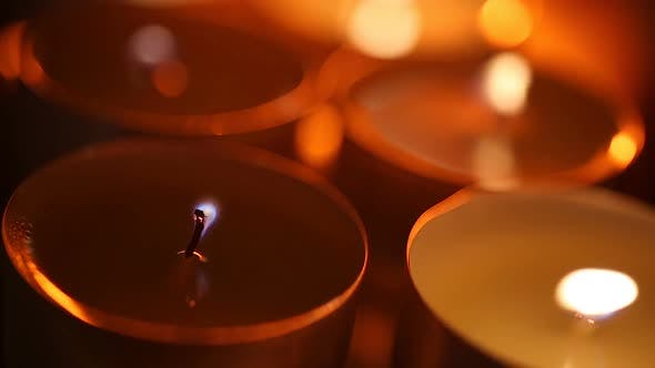 Vulnerable Candle Flames Shaking in Strong Wind, Last Hope Striving to Survive