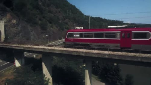 Train Is Passing Over the Bridge