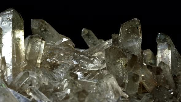Thumbnail for Mountain Quartz Crystal . Rotates on a Black Background. Macro