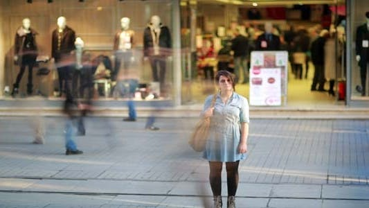 Thumbnail for Young Woman Posing In Front Of Shopping Mall