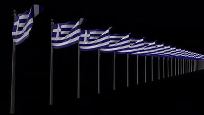 Row Of Greece Flags With Alpha 4K