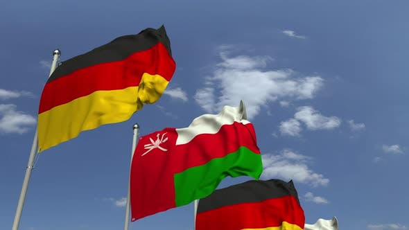 Thumbnail for Flags of Oman and Germany at International Meeting